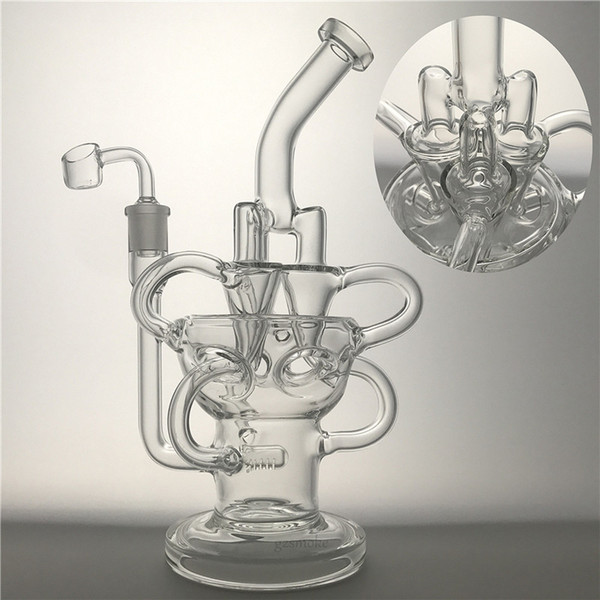 Glass Fab Egg Bongs Recycler Bong Triple Cyclone Inline Percolator Dab Rigs Water Pipes Vortex Smoking Pipe With Quartz Banger