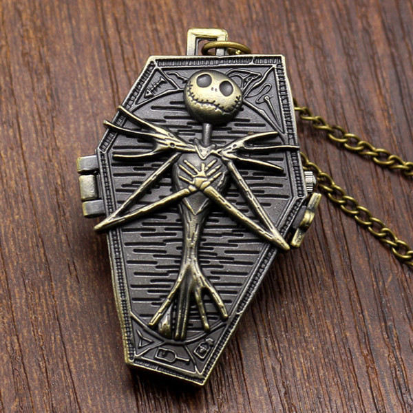 Wholesale 50pcs/lot Mix 3Colors Burton's Nightmare Before Christmas Dial Pendant Necklace Chain Quartz Pocket Watch PW065