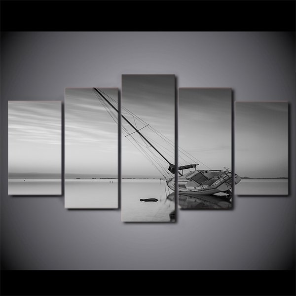 5 Pcs/Set Framed HD Printed Calm Lake Sailing Boat Wall Canvas Art Modern Painting Poster Picture For Home Decor