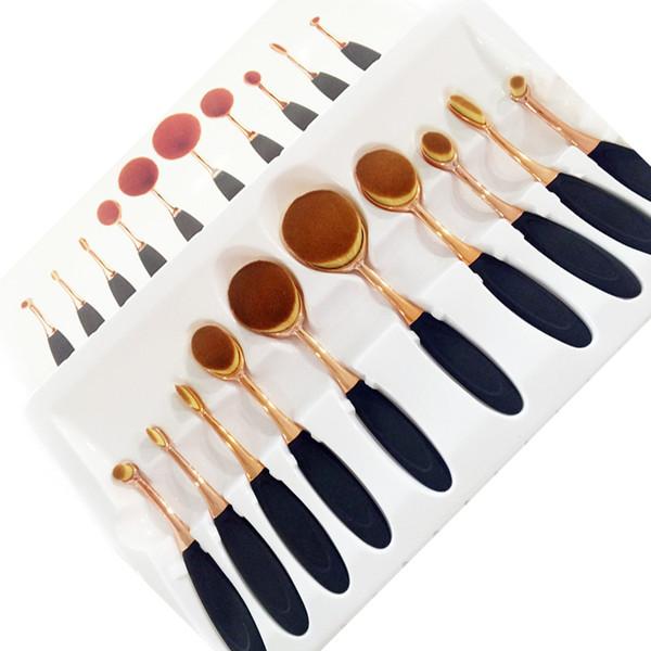 10 stücke Schwarz Foundation Puder Pinsel Ovale Zahnbürste Form Make-Up Pinsel Gold Meerjungfrau Mehrzweckbürste Schönheit Kosmetische