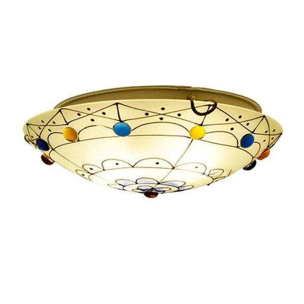 Pastoral Hand Stained Glass Bedroom Ceiling Lamp Mediterranean Kids Room Ceiling Lamps Baby Room Ceiling Light