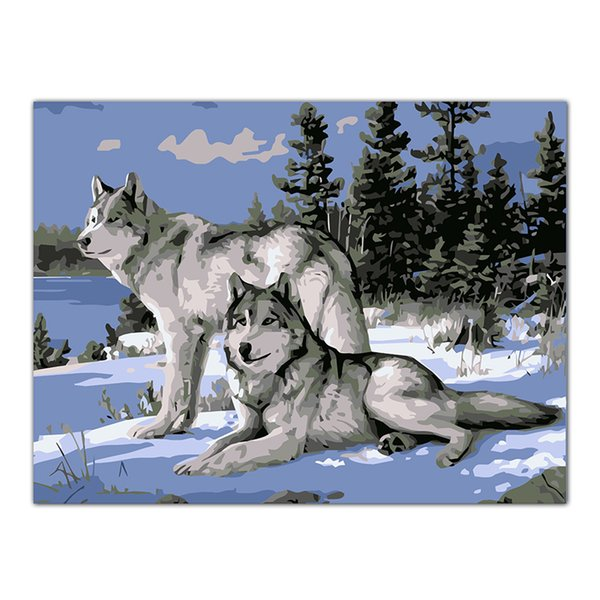 top popular No Frame Wolf Animals DIY Painting By Numbers Kits Paint On Canvas Acrylic Coloring Painitng By Numbers For Home Decor Artwork 2021