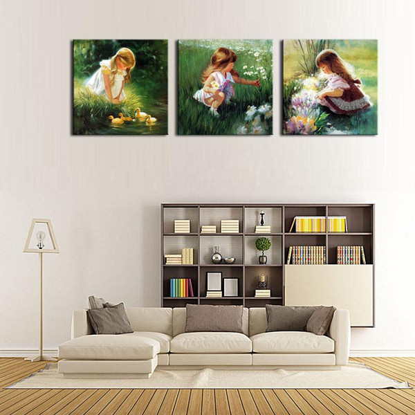 3 Panel Wall Art Beautiful The Little Girl On The Field On Lawn Flower Painting On Canvas The Picture For Home Modern Decoration piece