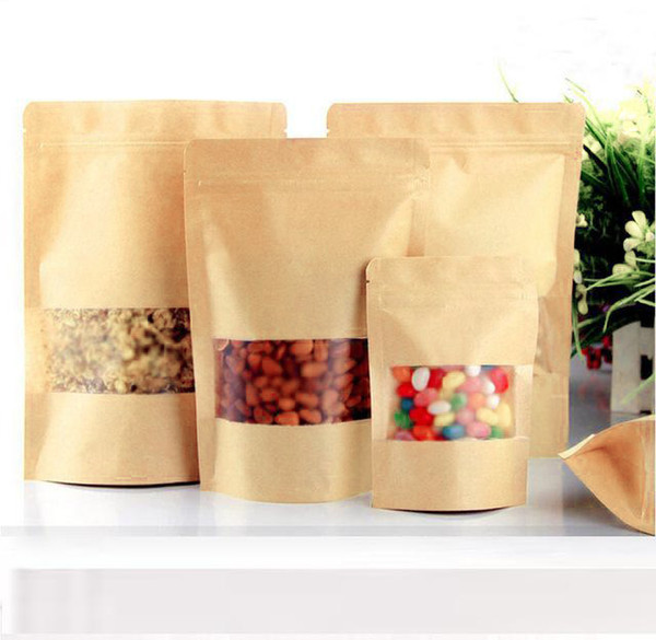 best selling 100Pcs Food Moisture-proof Bags,Window Bags Brown Kraft Paper Doypack Pouch Ziplock Packaging for snack,Cookies
