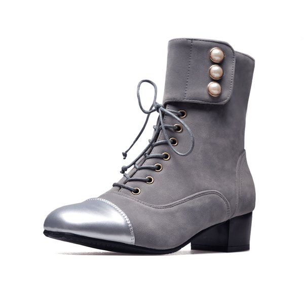 In autumn, winter, Europe and the United states, middle and middle-sized pearl clasp f splice square-headed boots BUKA B06