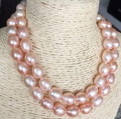 Gorgeous double strands 11-12mm south sea lavender baroque pearl necklace 18 inch 19inch 14k gold clasp