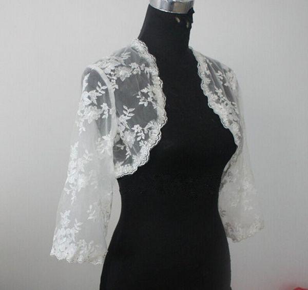 top popular Lace Bridal Jacket Bolero 3 4 Long Sleeves Wedding Jacket Bolero Shrug White Ivory Custom Made Lace Jacket Bolero 2021