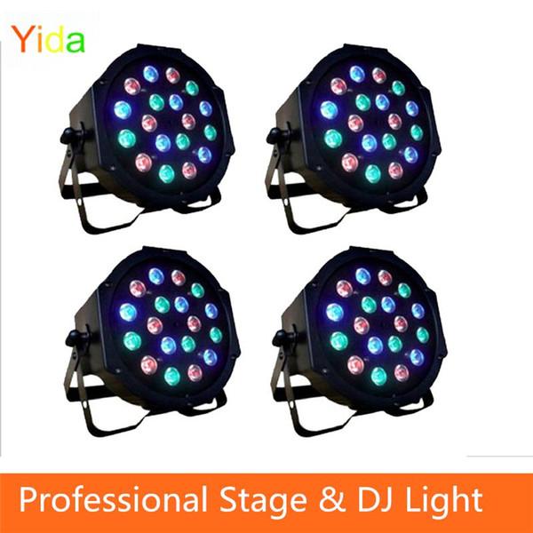 Free shipping 18*3W Led Stage Light High Power RGB Professional Par Wedd Stage&DJ Lighting DMX512 Master-Slave Led Flat