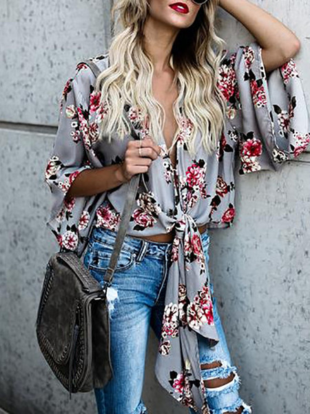 Women tops and blouses 2018 spring fashion flower printed three quarter bow-knot sleeve vintage shirt women blouses shirts