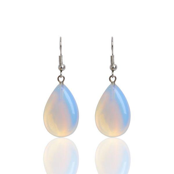 New Fashion Dangle Earrings Women Water Drop Shape Blue Fire Opal Natural Crystal Stone Pendants Drop Earrings for Women Jewelry
