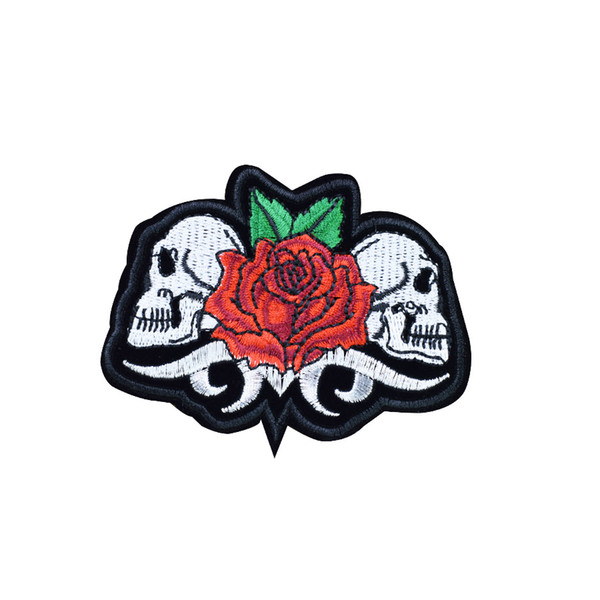 Twins Skull with Rose Patches for Clothing Iron on Transfer Applique Patch for Jacket Jeans DIY Sew on Embroidered Badge 1pcs