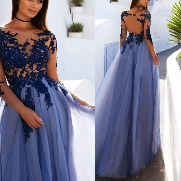 Illusion Long Sleeve Evening Dress Sheer Neckline Lace Appliques ...