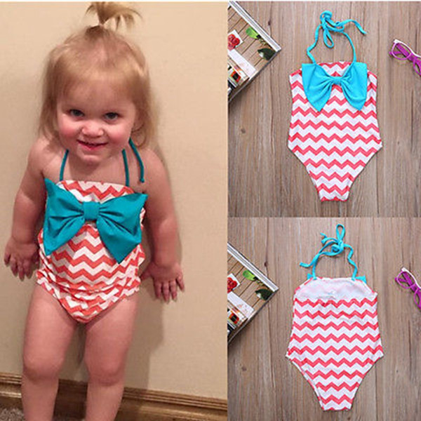 top popular Infant Girl Summer One-Piece Swimwear Pink Purple color for 0-2T with Big Bow Chevron cloth Cute Baby bikini Swimwear 2021