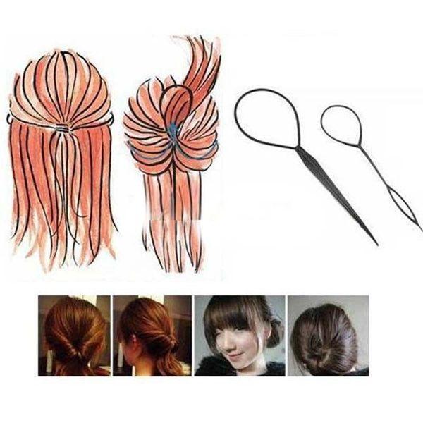 (2pcs/set) Magic Large Small Topsy pony Tail Hair Braid Ponytail Styling Maker Tool Free Shipping