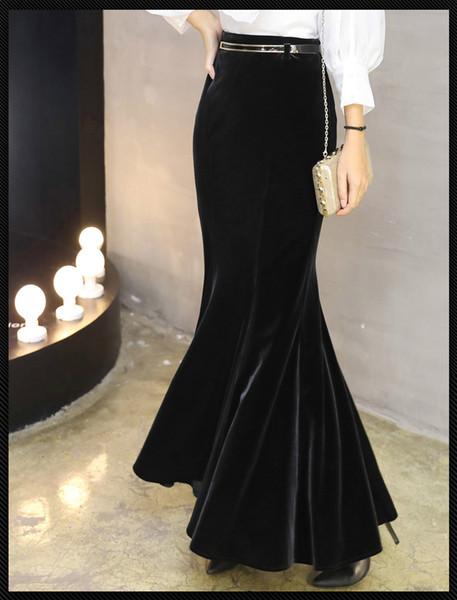 honey521521521 / Women's party autumn new high waist bodycon sexy velvet mermaid maxi long skirt plus size XSSMLXLXXL3XL