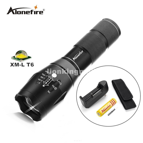 G700 LED Flashlight ZOOM CREE 3800LM Waterproof Lanterna E17 LED 5Modes Zoomable Torch Flashlight Linterna led+18650 battery+charger