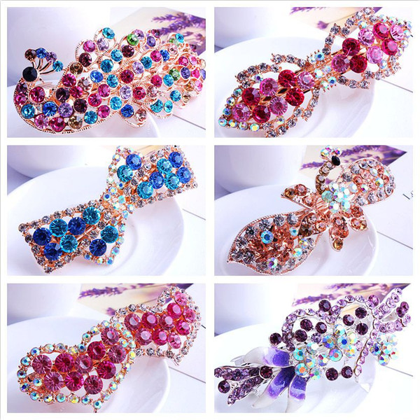Rhinestone Hair Accessories for Women Girls 2018 Korean Style Clamps Hair Clips Hairstyles Mix Colors Headpieces Valentine's Day Gift Ideas