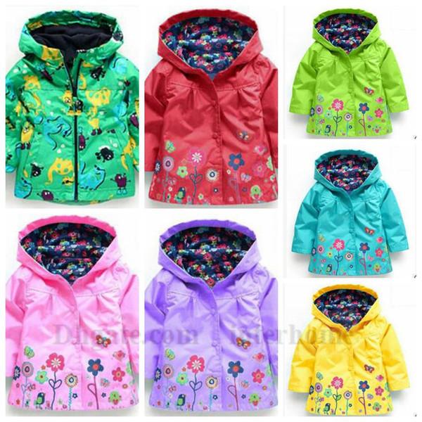 Filles fleur imperméable manteau de pluie floral poncho à capuchon imperméable Outwear imperméable mode manteau d'hiver coupe-vent veste imperméable fleur B1288