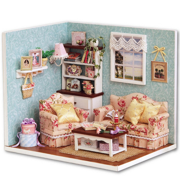 mini doll furniture. Wholesale-Handcraft DIY Wooden Miniature Dollhouse Furniture Kit Living Room Model With Cover Cute Handmake Mini Doll F