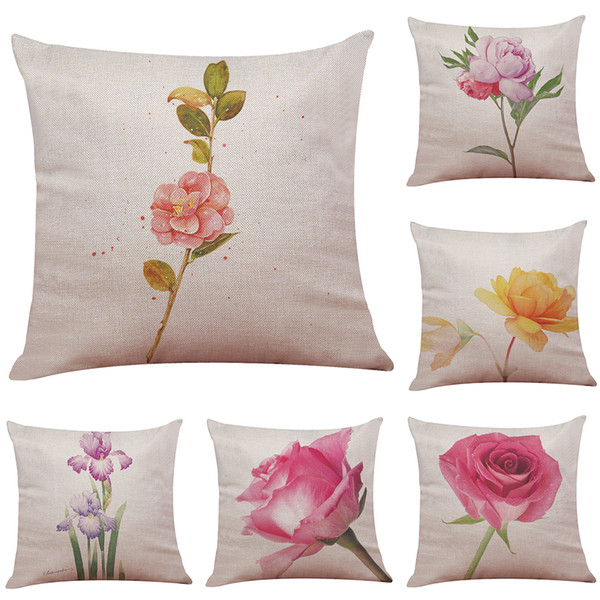 Hand Painted Flowers Pattern Linen Cushion Cover Home Office Sofa Square  Pillow Case Decorative Cushion Covers Pillowcases Without Insert Seat ...