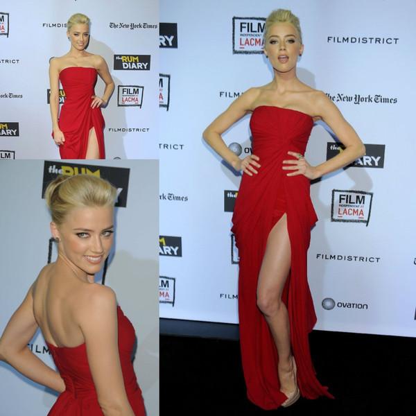 Free Shipping Amber Heard Elie Saab SRed Sheath Column Side Slit Strapless Sleeveless Ruffles Chiffon Floor-Length Dresses Evening Dress
