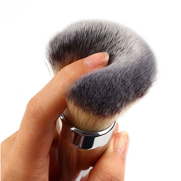 New High Quality Professional Makeup Brushes Flawless Blush Powder Brush Silver Metal Color 1Pc cosmetic kit Free Shipping