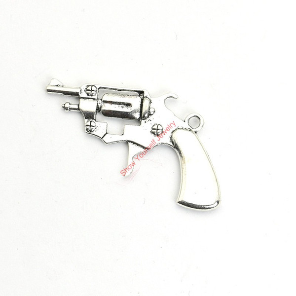 15pcs Antique Silver Plated Gun Charms Pendants for Bracelet Jewelry Making DIY Necklace Craft 40x26mm