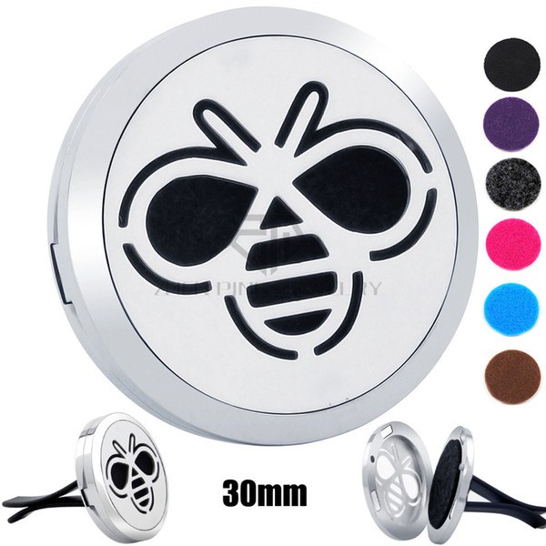New Arrival Silver Bee (30mm) Magnetic Diffuser 316 Stainless Steel Car Aroma Lockets Essential Oil Car Air Fresher Lockets