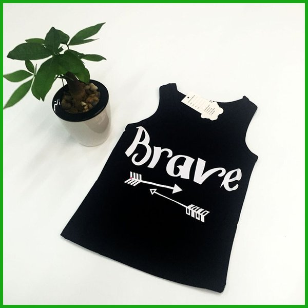 sleeveless girls tops vest brave letters print fashion children black t-shirts summer kids casual outfits fast free shipping