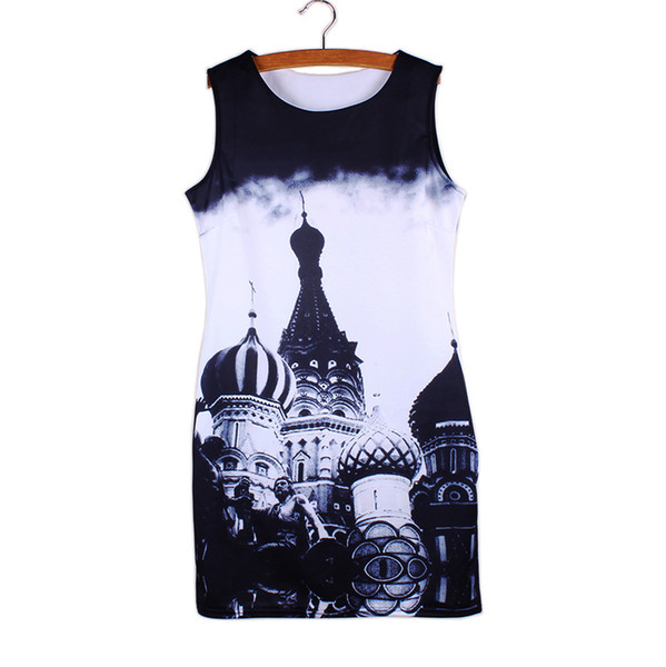 Vogue women mini vestido Tower print 2016 new arrival fashion girls summer clothes Western novelty design casual dresses wholesale mix order