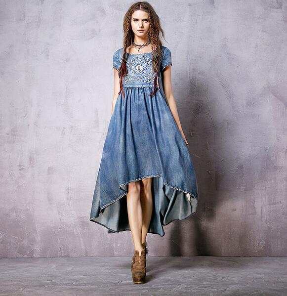 Free Shiping 2016 Vintage Women Long Mid-calf Short Sleeve Summer Denim Cotton Dresses High Quality Embroidery High Low Dresses Hot Sale