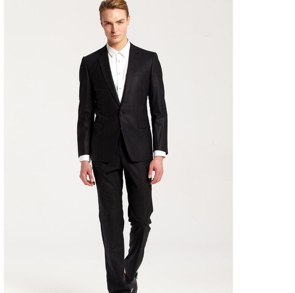 High quality customized man ball gown wedding the groom suit black lapel simple two-piece design groom dress (jacket + pants)