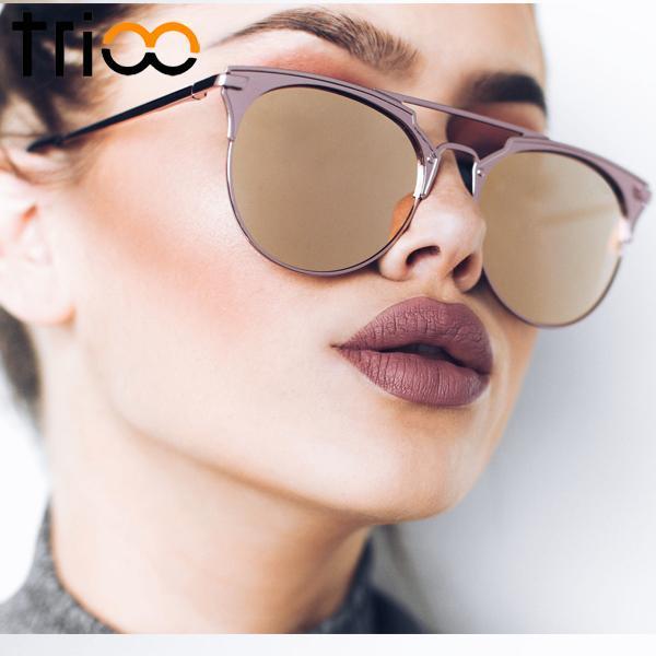 4bc5d8de2 Moda olho de gato óculos de sol retro rodada suanglasses para homens e  mulheres designer de