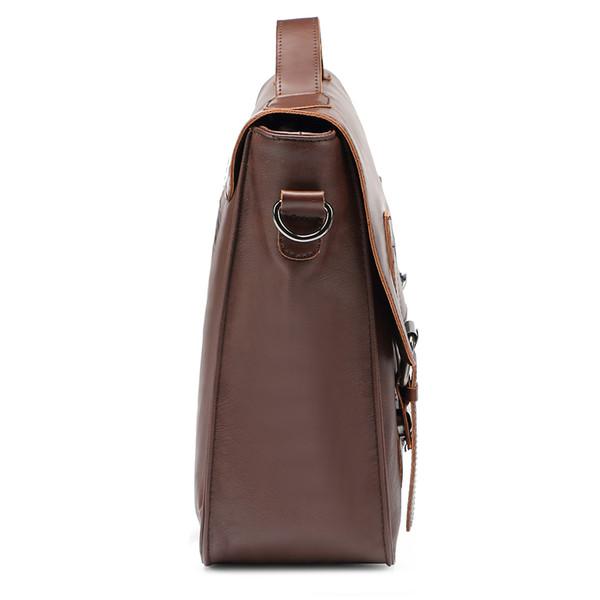 Wholesale- Zebella Vintage Men Business Briefcases Pu Leather Brown Mens Laptop Messenger Bags Classic Portfolio Document Office Bag New