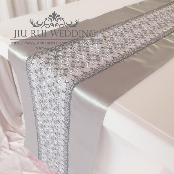 top popular Fashion Double Layers Silver Satin and Lace Table Runner 2PCS Free Shipping For Party Free Shipping 2021