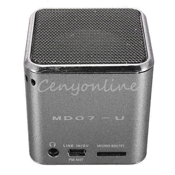 MD07U Sliver USB Mini Portable FM Music Sound Box Player Digital Speaker Amplifier Reader For iPad For iPod For iPhone GPS