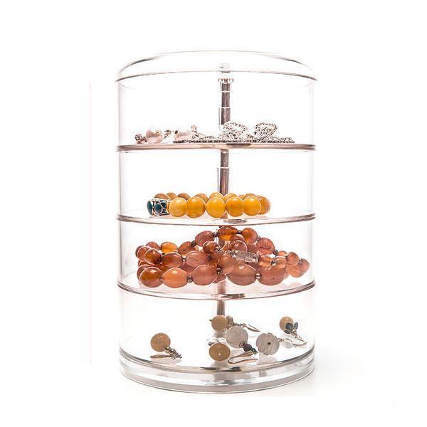 Simple Acrylic Cosmetic Jewelry Storage Box Round Accessories Bins Jewelry Organizer Big Capacity Boxes 11.5*17.6cm