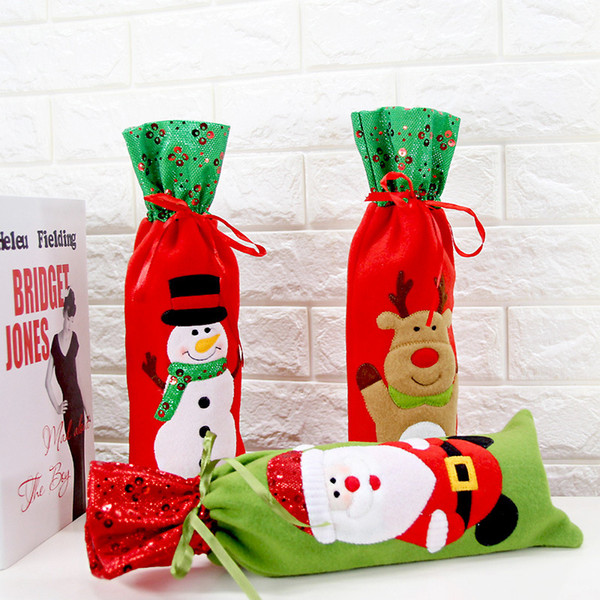 2017 christmas gift wraps 3 types santa claus ornaments xmas wine bottle cover bag new year