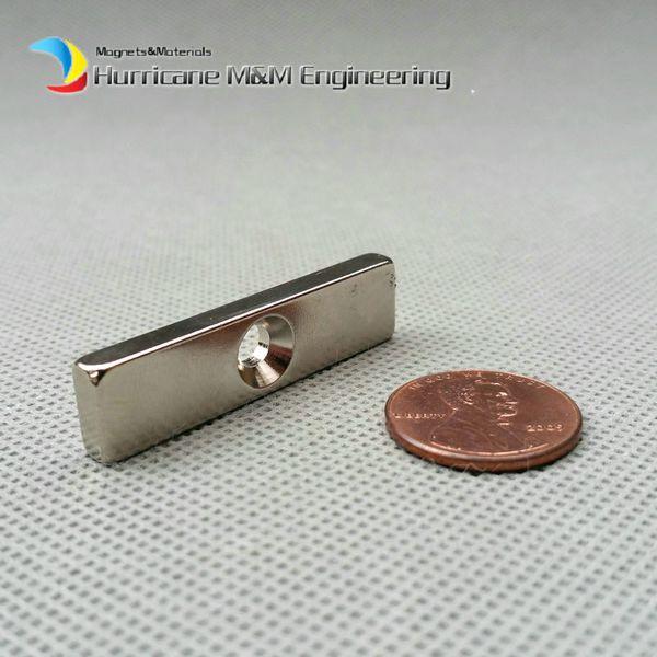 48pcs NdFeB Fix Magnet 40x10x4mm with M5 Screw Countersunk Hole Block N42 Neodymium Rare Earth Permanent Magnet