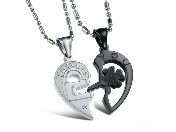 Wholesale unique style half heart pendant necklace with marking i unique style half heart pendant necklace with marking i love you lock key shape titanium steel aloadofball Choice Image