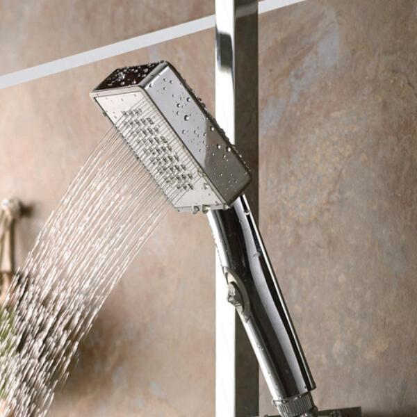 best selling Bathroom ABS Shower Head Hand Held Square Shape Bath Shower Water Saving Sprayer Douche Chrome Finish