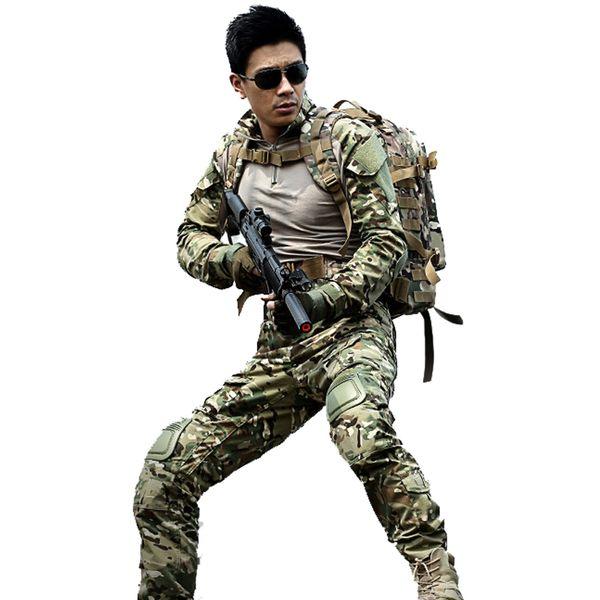Caldo! tuta mimetica da caccia all'aperto multicam da combattimento camicia uniforme pantaloni tattici con ginocchiere camuffamento abiti da caccia ghillie set