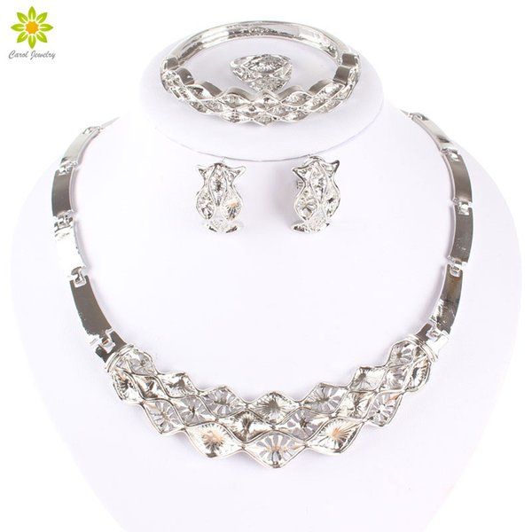Silver Plated African Costume Jewelry Sets Women Fashion Latest Indian Dubai Bridesmaid Wedding Party Necklace Set Gift