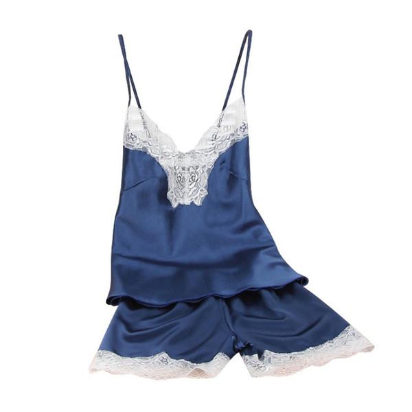 Wholesale- New Sexy Women V Neck Nightdress Satin Faux Silk Spaghetti Strap Nightwear Hot