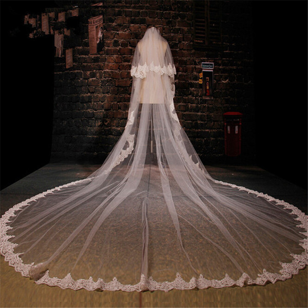 White Ivory 3.5M Two Layer Three Meters Width 3.5m*3m Length Embroidered Lace Applique Lace Wedding Veil Long Bridal Veil