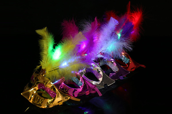 top popular LED Butterfly Masks Sequined Party Mask Halloween Led Party Mask Adult Kids Venetian Luminous Fluff Mask Christmas Flash Masquerade Masks 2019