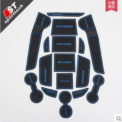High Quality Gate Slot Pad Rubber Car-cup Mat Non-slip Mat Car Accessories For Mitsubishi Outlander 2016 Car Styling