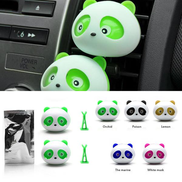 Parfum de sortie de voiture mini, belle sortie de voiture panda parfum, humidificateur désodorisant purificateur d'air, fournitures de voiture fraîche, 2pc / set, livraison rapide gratuite