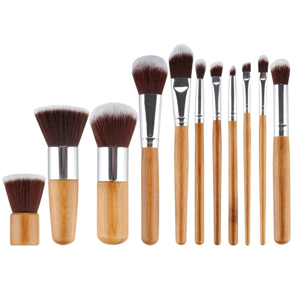 11pcs Professional High Quality Bamboo Makeup Brush Set Goat Hair Cosmetic Makeup Brushes Kit With Bag Make Up Tools Cosmetic Brushes DHL