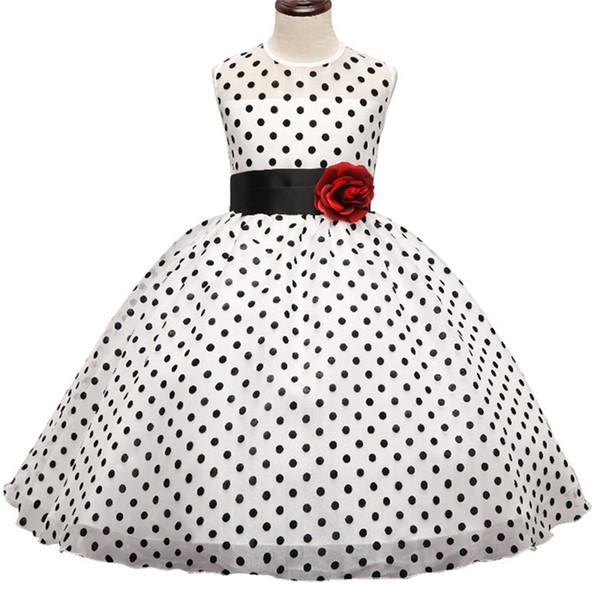 Kids Girl Black Polka Dot Summer Dress Baby Girls Princess Events Party Dress Wedding Gown for Children Clothing Girl 3-10 Years DK1038CR